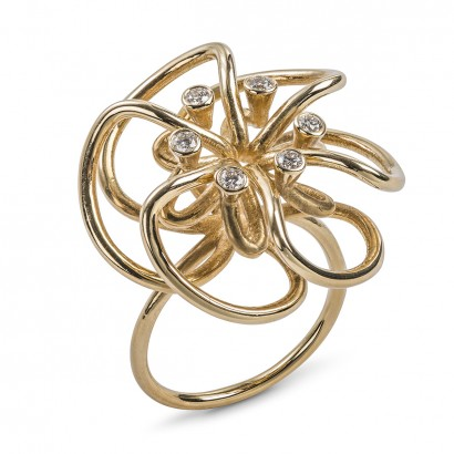 Laura Bangert - ring yellow gold and diamonds